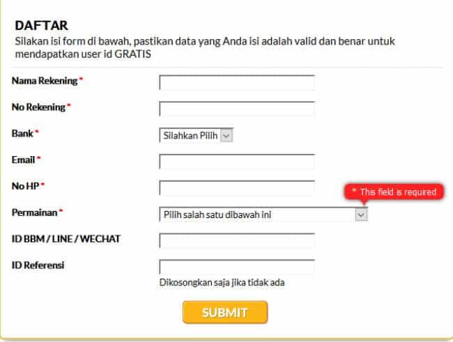 Formulir pendaftaran situs judi bola SBOBET
